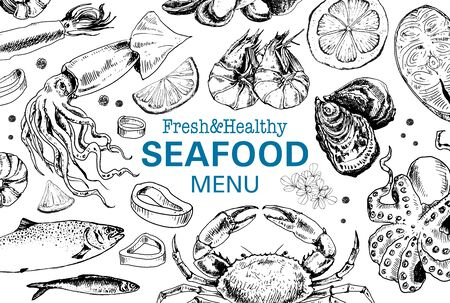 Seafood vintage menu in sketch style Illustration