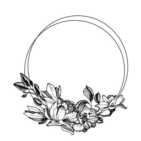 Frame with magnolia flowers, leaves and branches