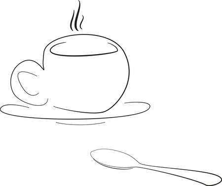 hot drink: cup with hot drink Illustration