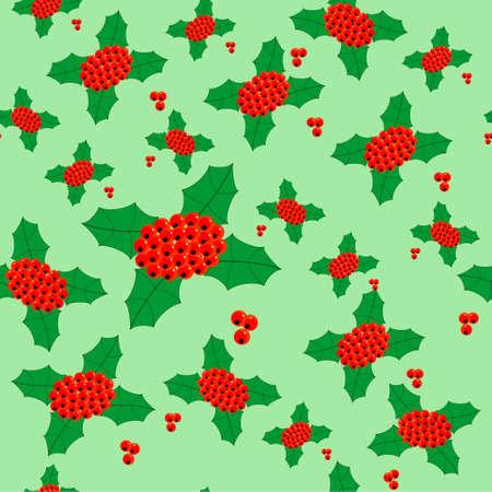 ilex aquifolium, seamless texture, background, christmas holly Vector