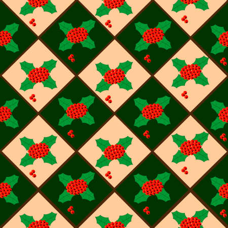 seamless texture: Weihnachten Beeren, nahtlose Textur, Hintergrund Illustration