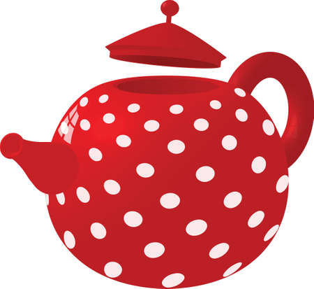 Red colour with white spotted tea pot Vector