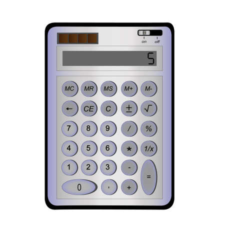 blue calculator on a white background photo