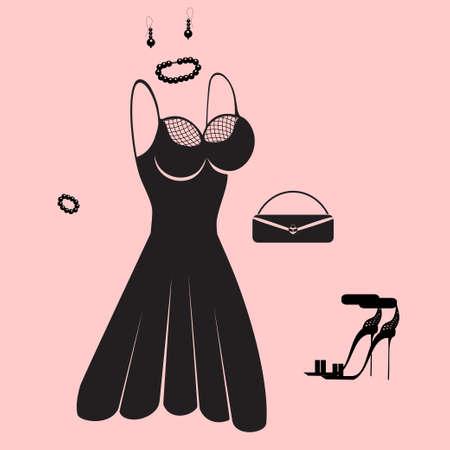 robe noire: robe noire, des sandales et une handbag?