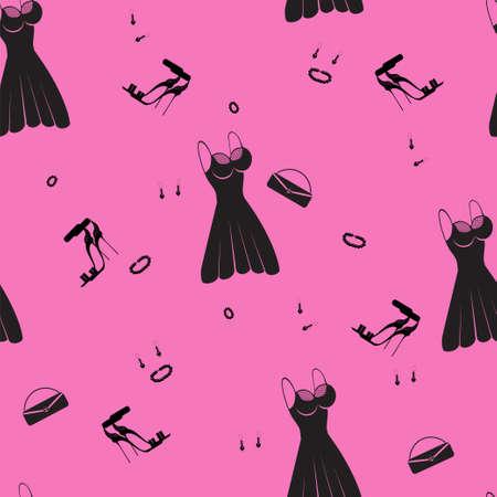 robe noire: robe noire, sandales et un sac � main, seamless?