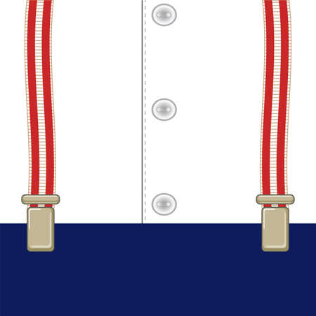 suspenders: signboard on suspenders for trousers, amid shirt with buttonsŒ
