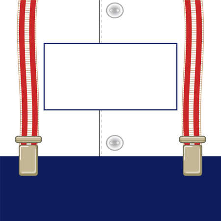 signboard on suspenders for trousers, amid shirt with buttonsΠIllustration
