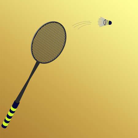 battledore: rackets and shuttlecock on a yellow  Illustration