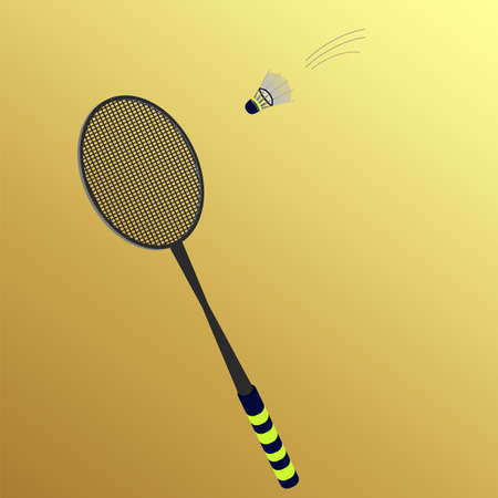 battledore: rackets and shuttlecock on a yellow background Illustration