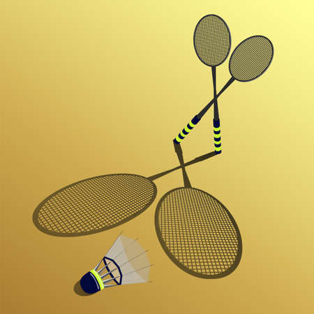 battledore: two rackets and shuttlecock on a yellow background Illustration