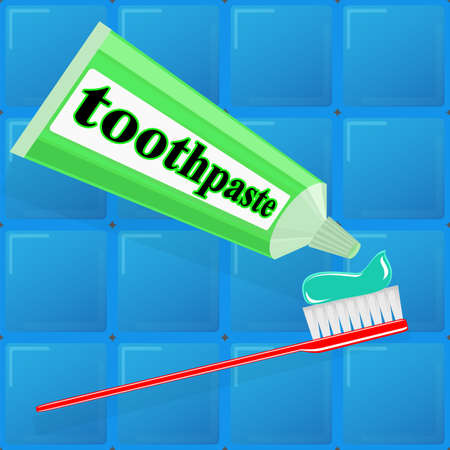 fluoride toothpaste: toothpaste and toothbrush on background of blue tiles