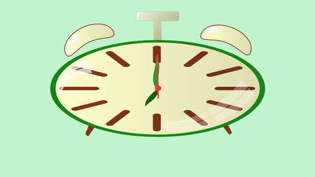 seven o'clock: Clocks on a green background show exactly seven oclock