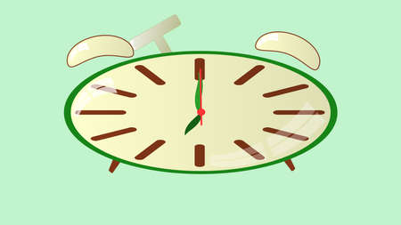 pm: clock shows exactly seven hours alarm clock rings