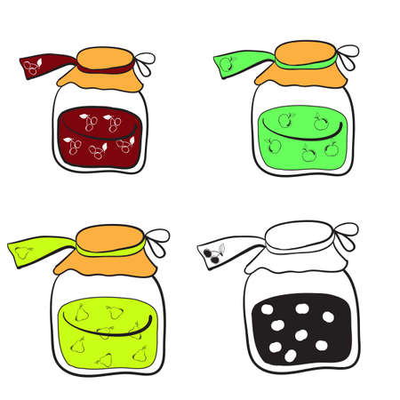glass jars with apple jam, pear jam and cherry jam on a white background Vector