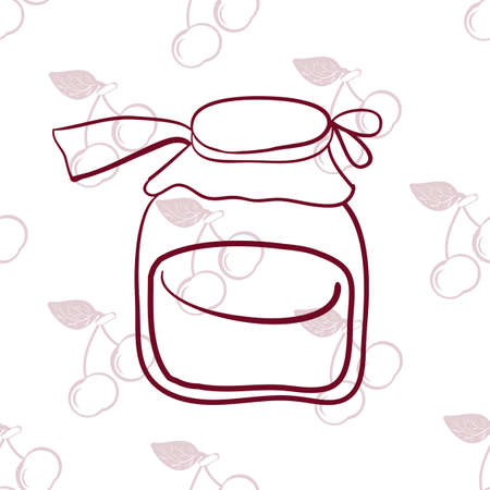 confiture: seamless pattern, glass jar, fruit on the background