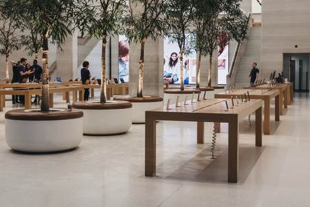 Inside the Apple Store on Regent Street, London that recently had a refurbishment. Regent Street was Apple's first store in Europe.