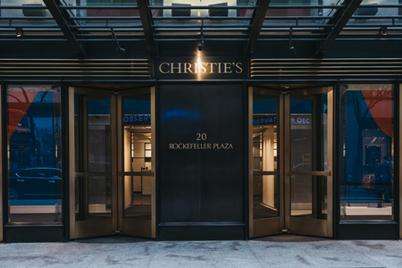 Entrance to Christies salesroom in Midtown Manhattan, New York. Founded in 1766 by James Christie, it is one of the most famous auction houses in the world.