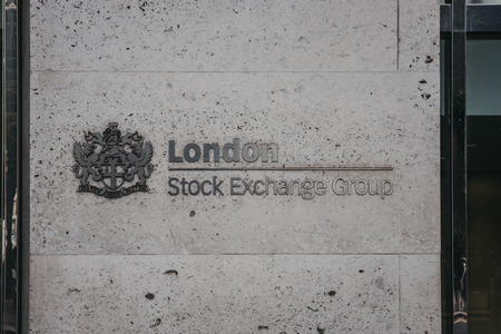 London, UK - July 24, 2018: icon at the entrance to London Stock Exchange Group. London Stock Exchange is one of the world%u2019s oldest stock exchanges and can trace its history back more than 300 years.