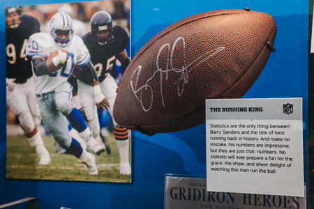 NEW YORK, USA - MAY 28, 2018: NFL Memorabilia on display in NFL Experience in Times Square, New York, a first-of-its-kind live action attraction, combining interactive games and 4D theatre. Editorial