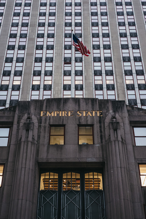 New York, USA - May 29, 2018: Facade of the Empire State Building, a 102-story Art Deco skyscraper in Midtown Manhattan, New York City.