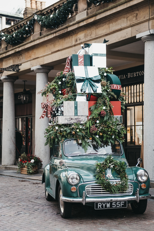 London, UK - November 21, 2018: Christmas decorations in Covent Garden Market, one of the most popular tourist sites in London, UK.