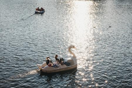 Prague, Czech Republic - August 23, 2018: Paddle swan boat on Vltava river in Prague, on a sunny summer day. Vltava is the longest river within the Czech Republic.