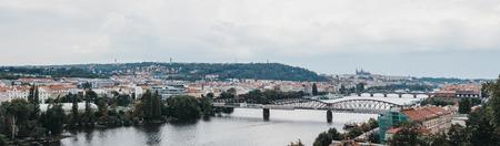 Prague, Czech Republic - August 23, 2018: Panoramic view of Vltava river and Prague's landmarks from Visehrad. Vltava is the longest river within the Czech Republic.