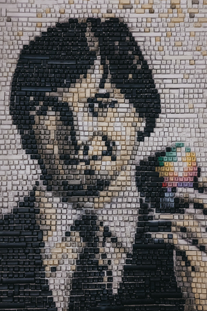 Portrait of Steve Jobs in Apple Museum, Prague, Czech Republic, made out of keyboard keys.