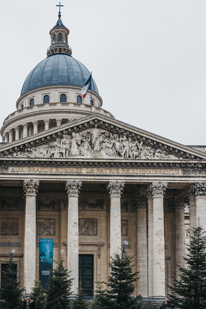 Paris, France - January 27, 2018: Facade of the Pantheon, a building in the Latin Quarter in Paris, France, that now acts as a mausoleum containing the remains of distinguished French citizens. Redakční