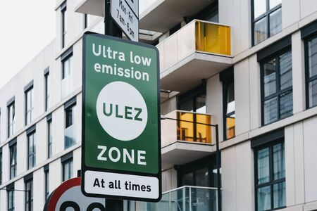 London, UK - June 15, 2019: Signs indicating Ultra Low Emission Zone (ULEZ) on a street in London. ULEZ was introduced in 2019 to help improve air quality in the capital. Editorial