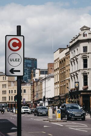 London, UK - June 22, 2019: Sign indicating the direction of Ultra Low Emission Zone (ULEZ) on a street in London. ULEZ was introduced in 2019 to help improve air quality in the capital.