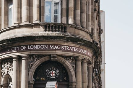 London, UK - July 29, 2019: Facade of City of London Magistrates Court. Due to the Citys great financial role most cases are primarily based on financial crime, both national and international.
