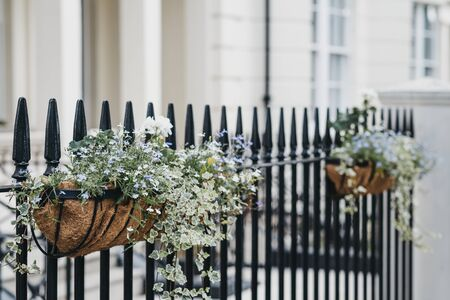 Flower baskets on a fence in front of a house, selective focus, home ownership concept. Stockfoto