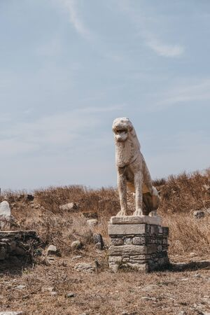 Naxian Lion statue on The Terrace of the Lions on the Greek island of Delos, archaeological site near Mykonos in the Aegean Sea Cyclades archipelago. Selective focus. 写真素材