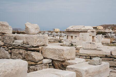 Ruins on the island of Delos, Greece, an archaeological site near Mykonos in the Aegean Sea Cyclades archipelago.