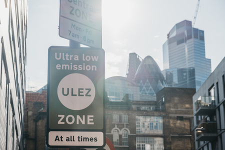 London, UK - September 7, 2019: Signs indicating Ultra Low Emission Zone (ULEZ) on a street in London. ULEZ was introduced in 2019 to help improve air quality in the capital.