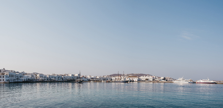Mykonos Town, Greece - September 20, 2019: Panoramic view of the new port in Hora, also known as Mykonos Town, capital of the island and one of the best examples of Cycladic architecture. 新聞圖片