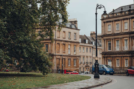 Bath, UK - October 04, 2020: View of The Circus, a historic street of large townhouses in the city of Bath, Somerset, England, forming a circle with three entrances. Sajtókép