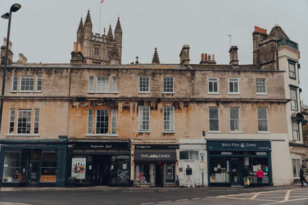 Bath, UK - October 04, 2020: Row of shops on Terrace Walk in Bath, the largest city in the county of Somerset, England, known for and named after its Roman-built baths. Sajtókép