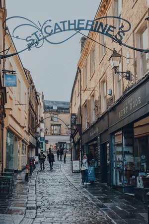 Frome, UK - October 06, 2020: View of St Catherines Artisan Quarter shopping area in Frome, a market town in the county of Somerset, UK, famous for its market and independent shops.