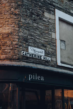 Frome, UK - October 04, 2020: Street name sign on Catherine Hill street in Frome, a market town in the county of Somerset famous for its market and independent shops. Sajtókép