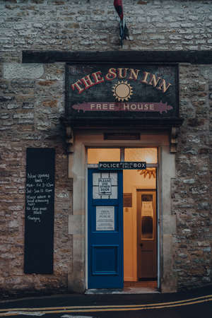 Frome, UK - October 04, 2020: Entrance of Sun Inn pub and accommodation in Frome, a market town in the county of Somerset, UK, famous for its market and independent shops.