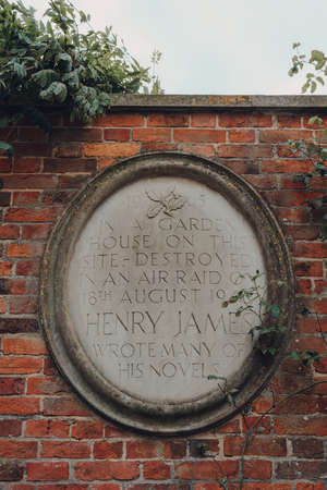 Rye, UK - October 10, 2020: Henry James memorial plaque outside National Trust Lamb House in Rye, one of the best-preserved medieval towns in East Sussex, England.