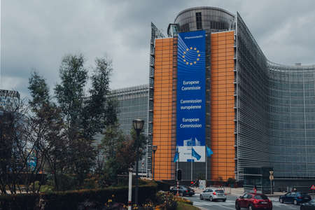 Brussels, Belgium - August 16, 2019: View of Schuman Roundabout and The Berlaymont, an office building in Brussels, which houses the headquarters of the European Commission Editorial