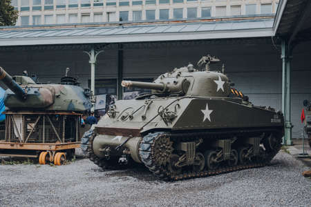 Brussels, Belgium - August 17, 2019: American Sherman Tank on exhibit at The Royal Museum of the Armed Forces and Military History, famous military museum in Brussels.