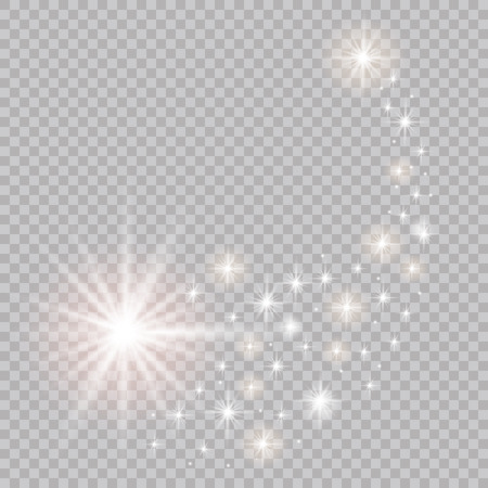 A bright comet with falling star. Glow light effect vector illustration.