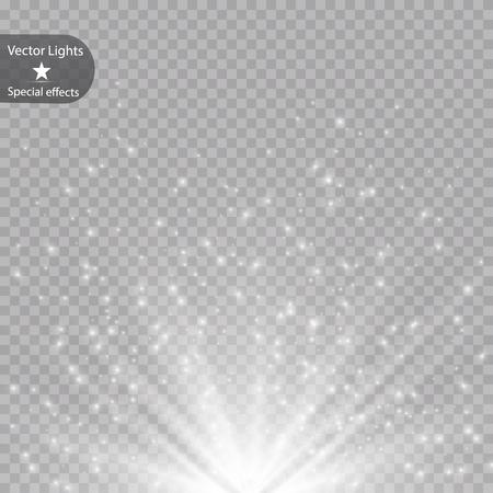 Glow light effect. Vector illustration. Christmas flash dust. Eps 10