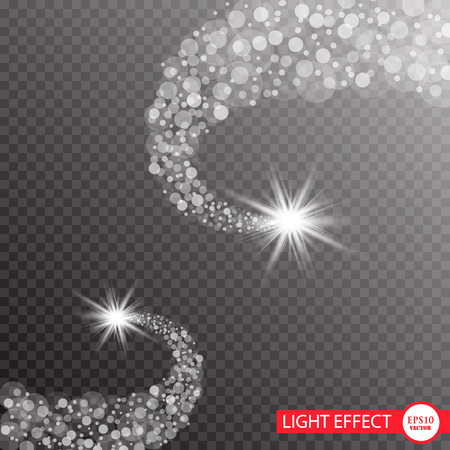 A bright comet with falling star, glow light effect vector illustration.