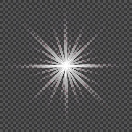 Glow light effect. Starburst with sparkles on transparent background. Vector illustration. Sun .Eps 10 Ilustracja