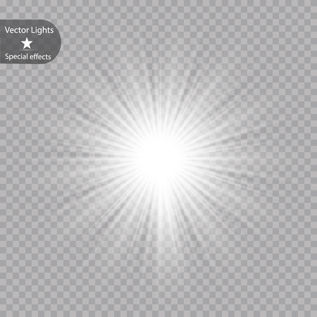 Glow light effect. Starburst with sparkles on transparent background. Vector illustration. Sun .Eps 10 矢量图像